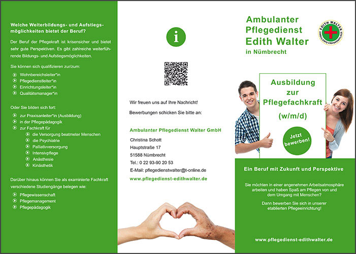 Flyer Ausbildung zur Pflegekraft im Pflegedienst Edith Walter 1
